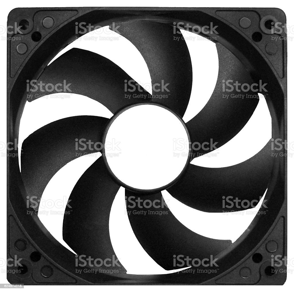 Black plastic cooler fan isolated on white background stock photo