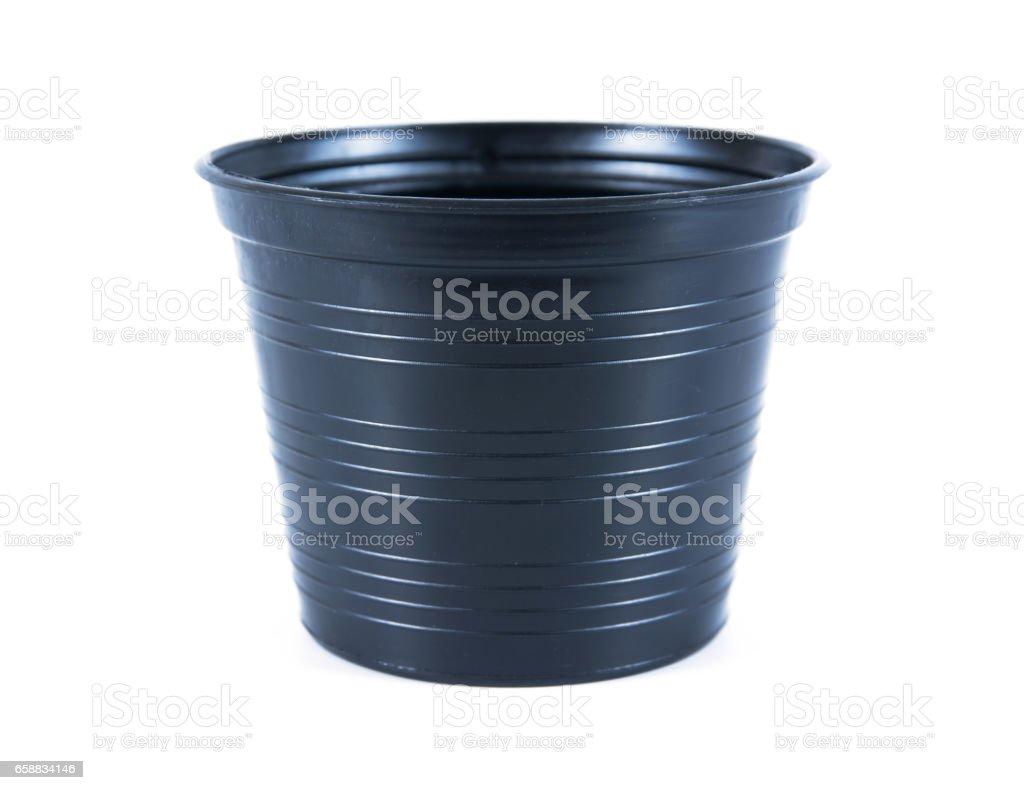 Black Plastic Flower Pots On White Backgroundplastic Flowerpot