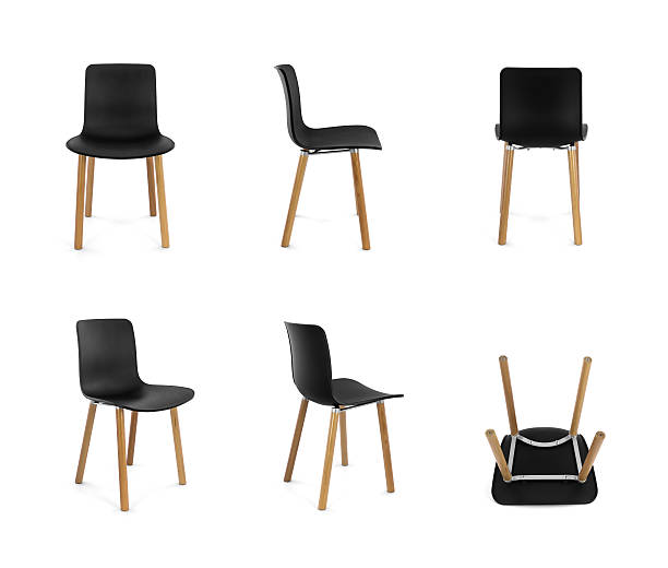 black plastic modern chair with wood legs, multiple angles - stoel stockfoto's en -beelden