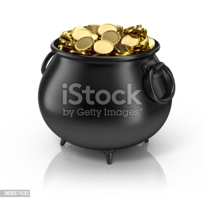 Black Plastic Pot Filled With Gold Coins Stock Photo & More Pictures of Abundance