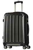 Black plastic suitcase isolated on white background