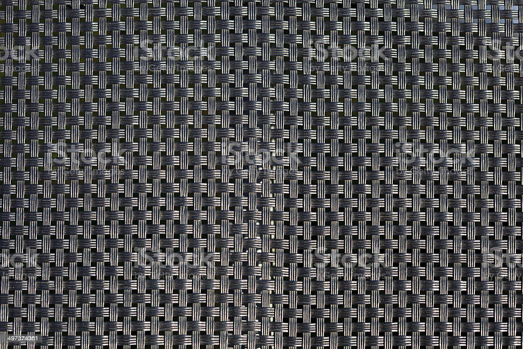 Closeup of black plastic weave as woven background texture or pattern.