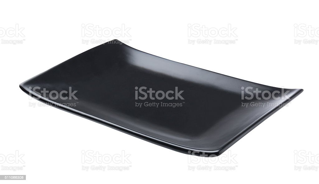 Black plate isolated stock photo