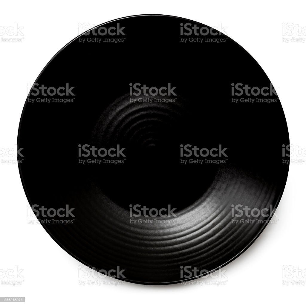 Black Plate Isolated with Path stock photo