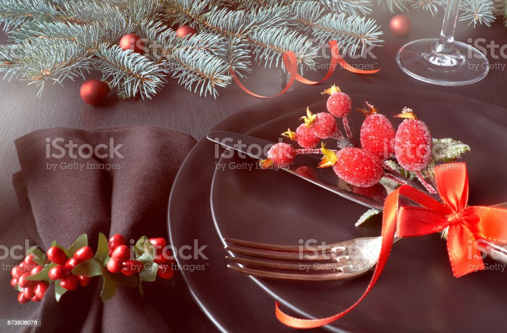 Black Plates And Cutlery With Christmas Decorations On Dark Stock Photo Download Image Now Istock