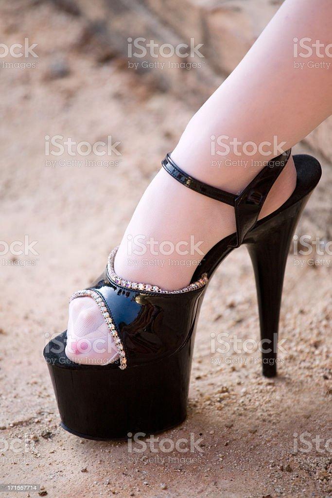 Black platform high heels royalty-free stock photo