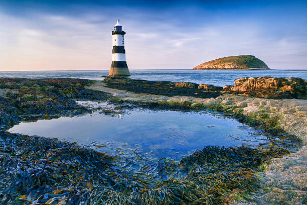 Black Point Lighthouse, Angelsey stock photo