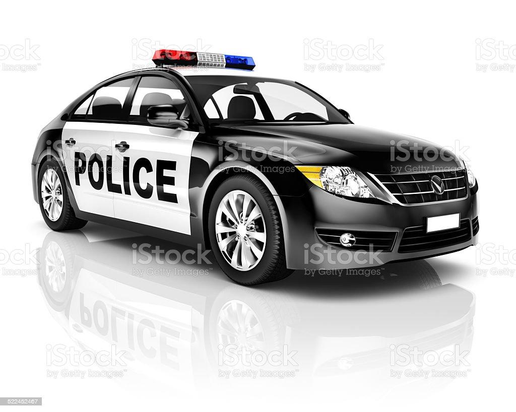 3D Black Police Car stock photo