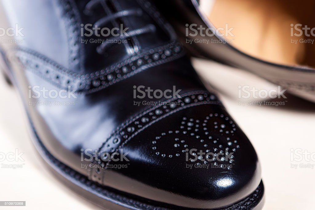 Black Polished Oxford Semi-Brogue Laced Shoes stock photo