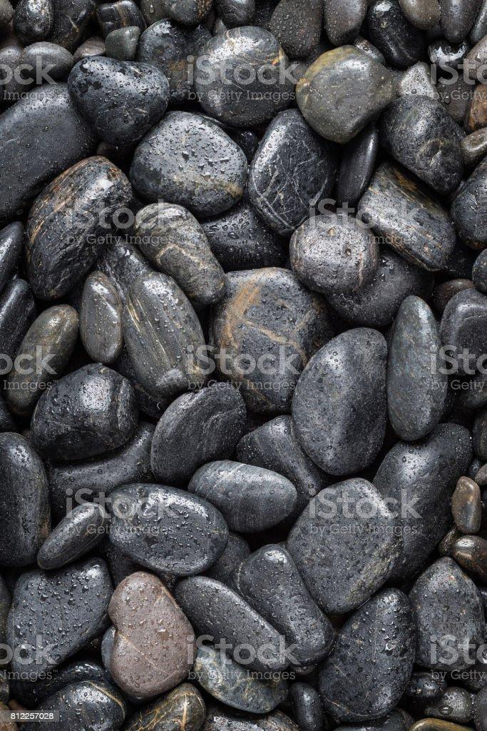 Black Polished River Stones stock photo