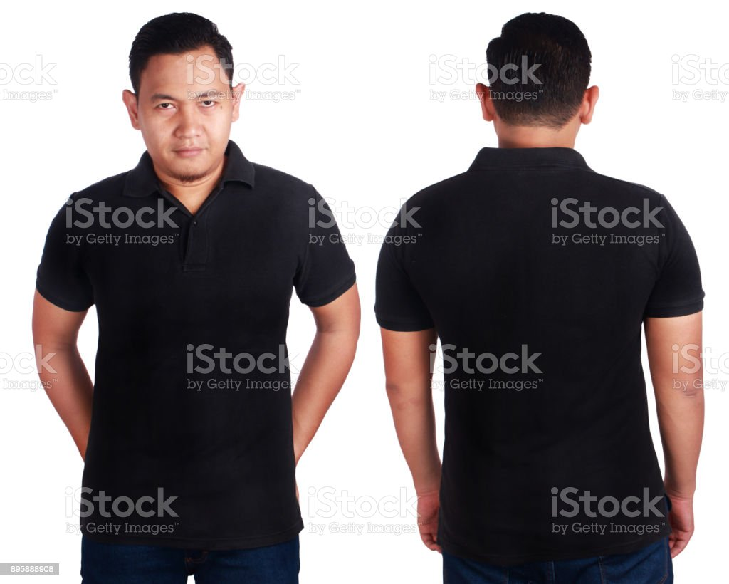 Black Polo Shirt Mockup Template stock photo