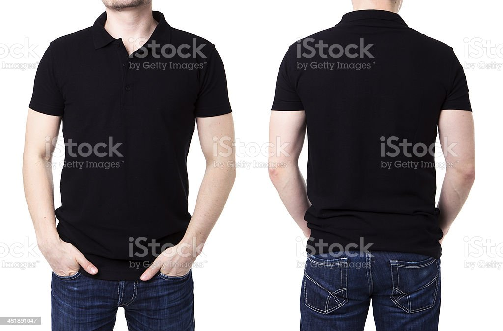Black polo shirt on a young man template stock photo