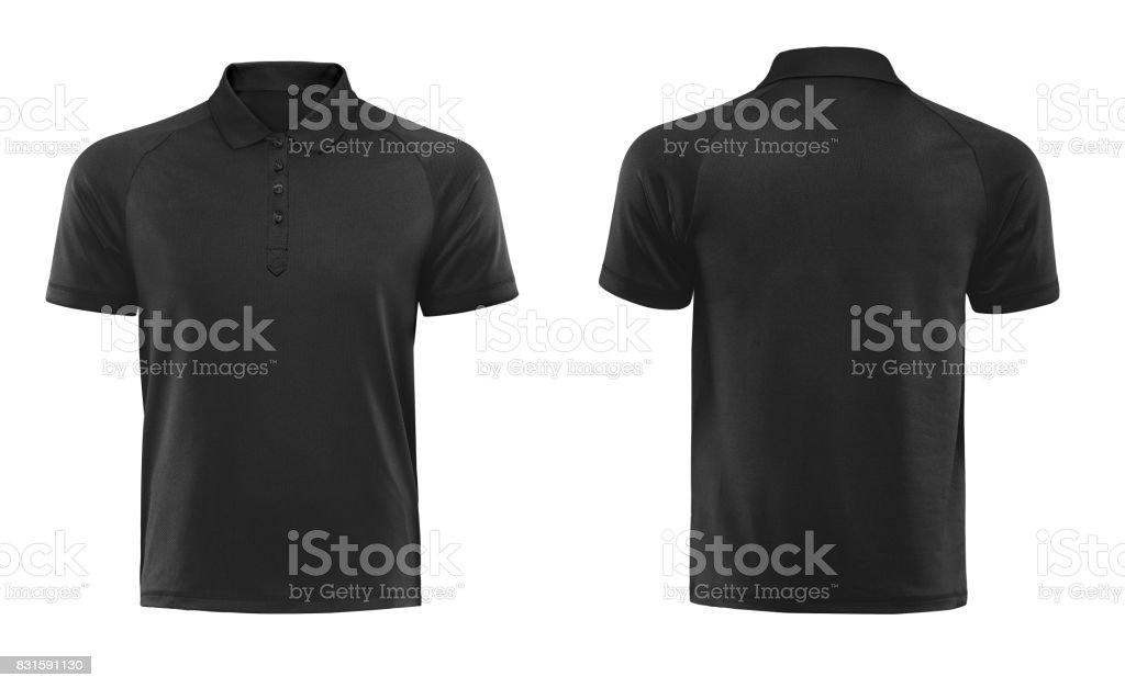 Svart polo tshirt formgivningsmall isolerad på vit med urklippsbana bildbanksfoto