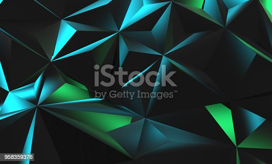 istock Black polygons with blue green light 958359376