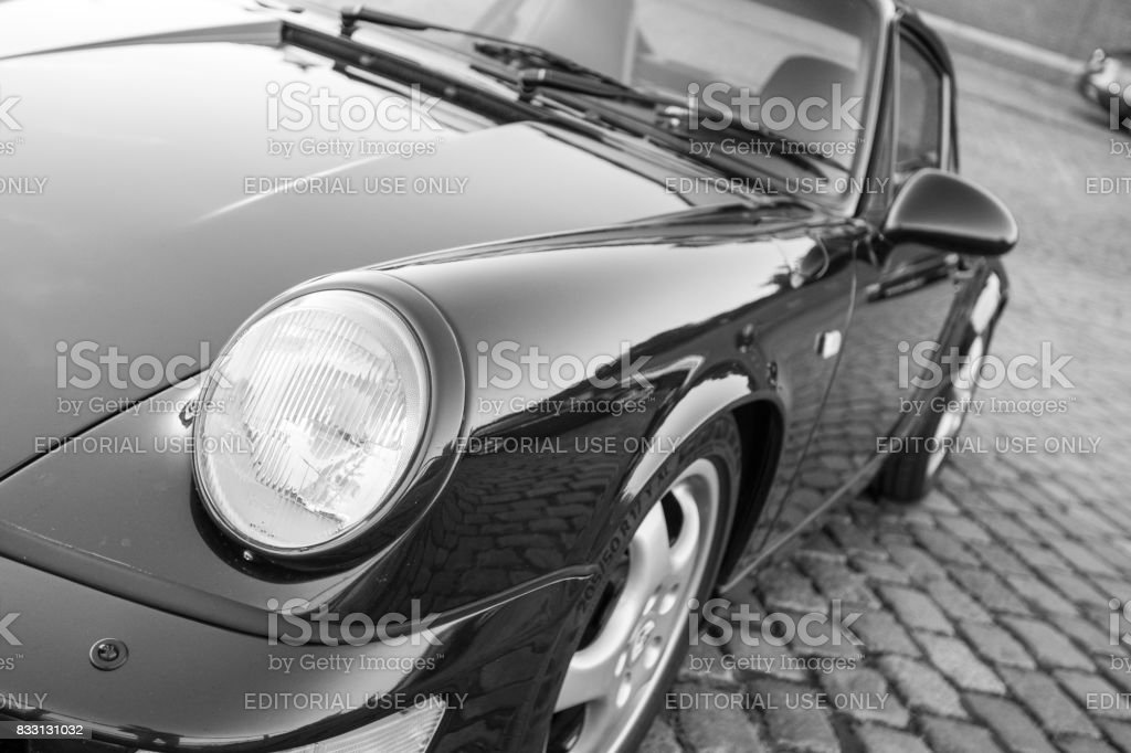 Black Porsche 911 - black and white image- during the event with Magnus Walker on the Fish Market Hamburg stock photo