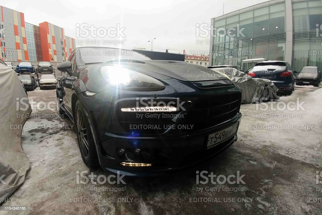 Black Porsche Cayenne Turbo Tuned By Wide Body Modified Hood And Headlights Premium Suv Parked On The Street Stock Photo Download Image Now Istock