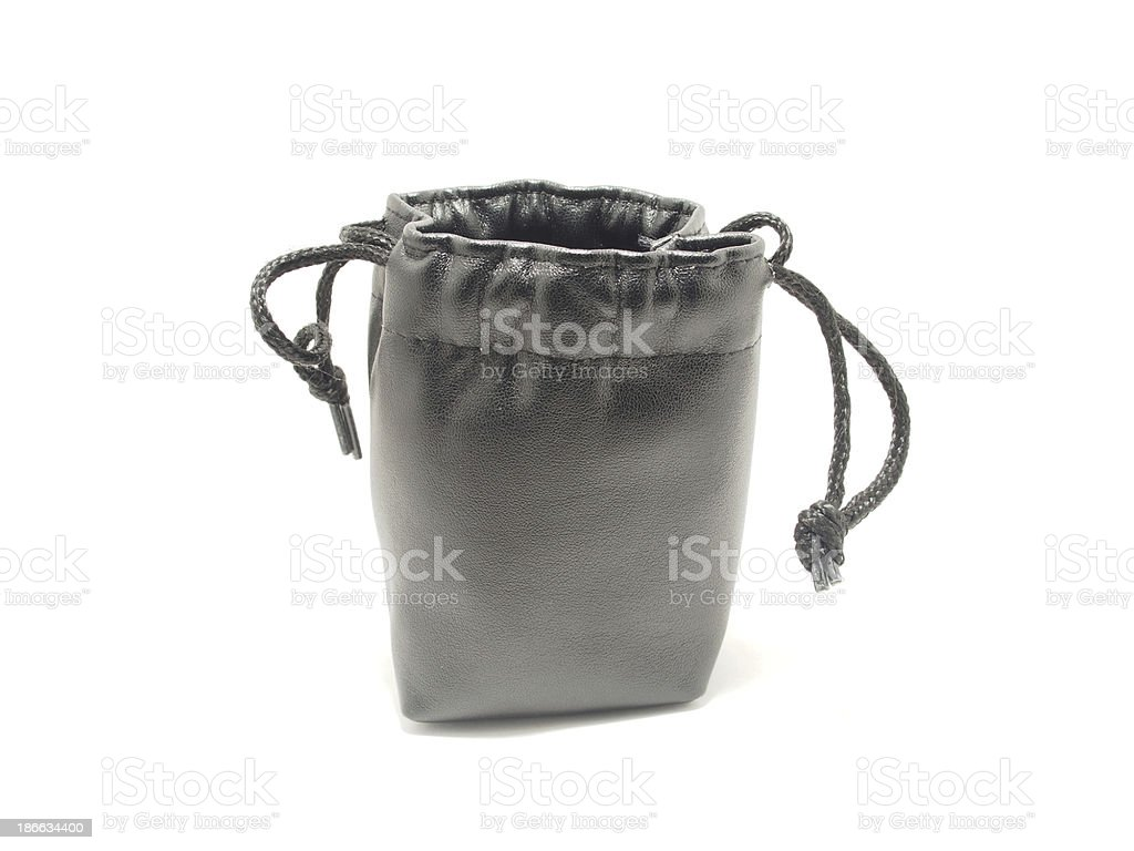 Black pouch isolated on white background royalty-free stock photo