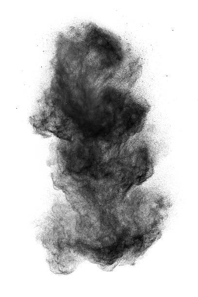 Black powder explosion isolated on white stock photo