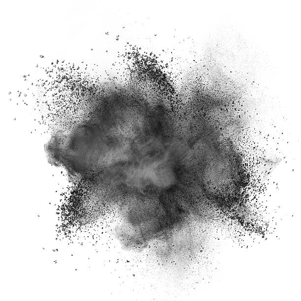 black powder explosion isolated on white - isolated colour stock photos and pictures