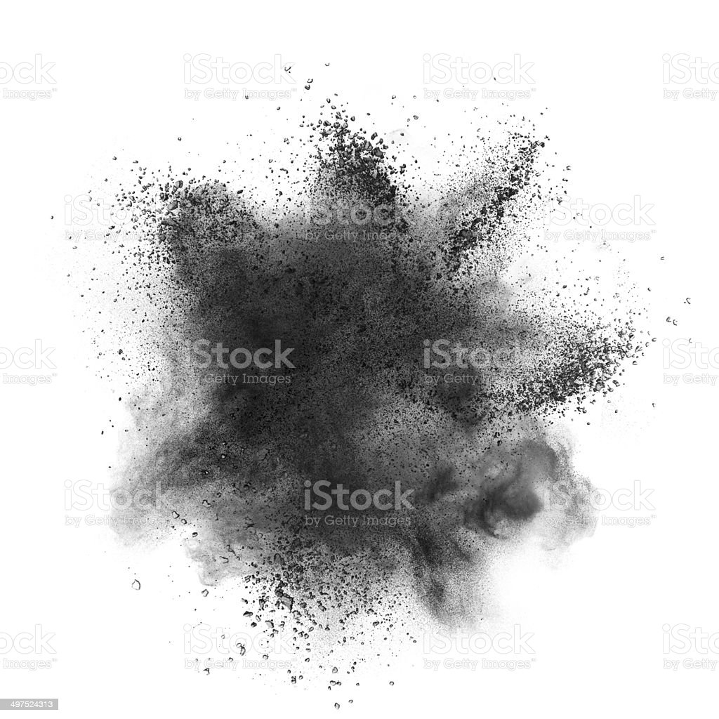 Black powder explosion isolated on white stock photo