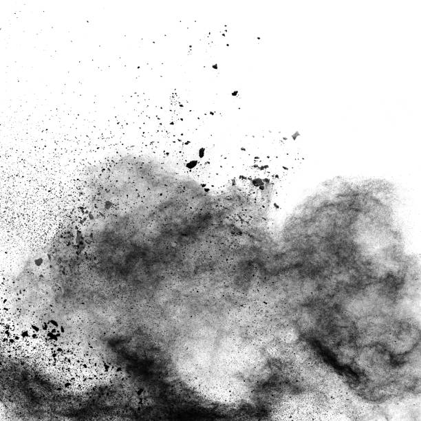 black powder explosion. the particles of charcoal splatter on white background. closeup of black dust particles splash isolated on  background. - charcoal drawing stock photos and pictures