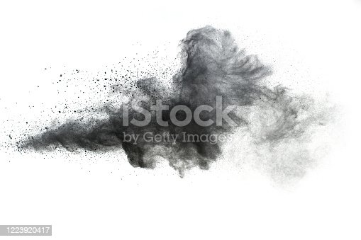 872058828 istock photo Black powder explosion.The particles of charcoal splash on white background. 1223920417