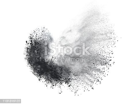 istock Black powder or flour explosion isolated on white background  freeze stop motion object design 1131315122