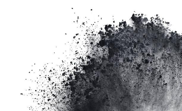 zwarte poeder of meel explosie geïsoleerd op witte achtergrond freeze stop motion object design - talk stockfoto's en -beelden