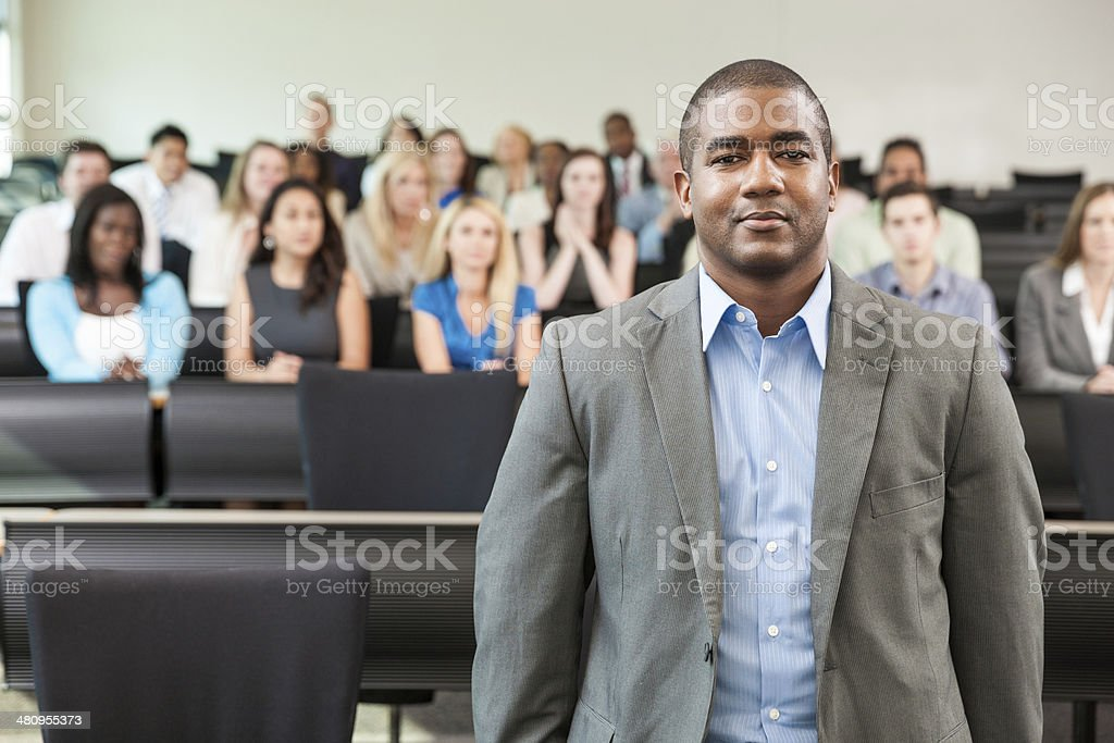 Black Professor in Front of Classroom stock photo