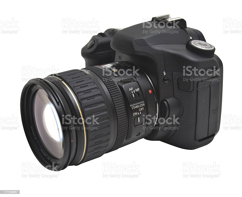 Black Prosumer DSLR with Zoom Lens and Clipping Path royalty-free stock photo