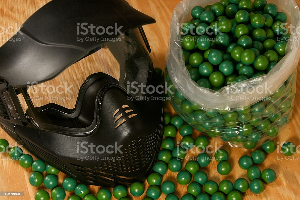 Black Protective Paintball Mask stock photo