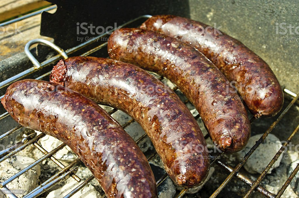 Black pudding during the preparation stock photo