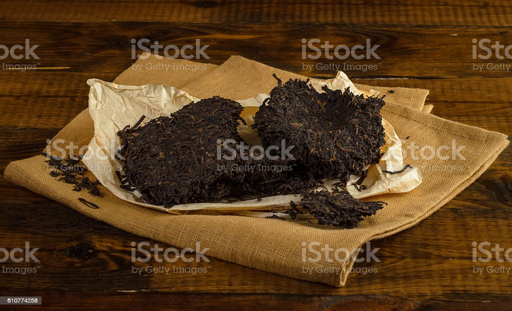 black pu-erh tea from yunnan province stock photo