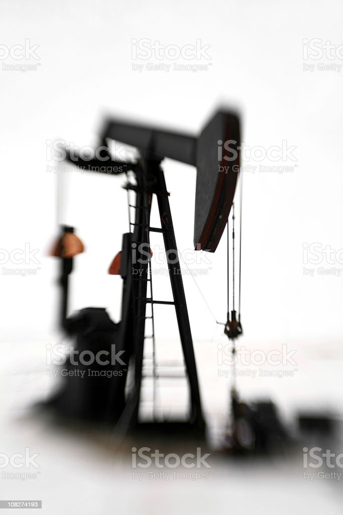 Black Pumpjack with White Background royalty-free stock photo