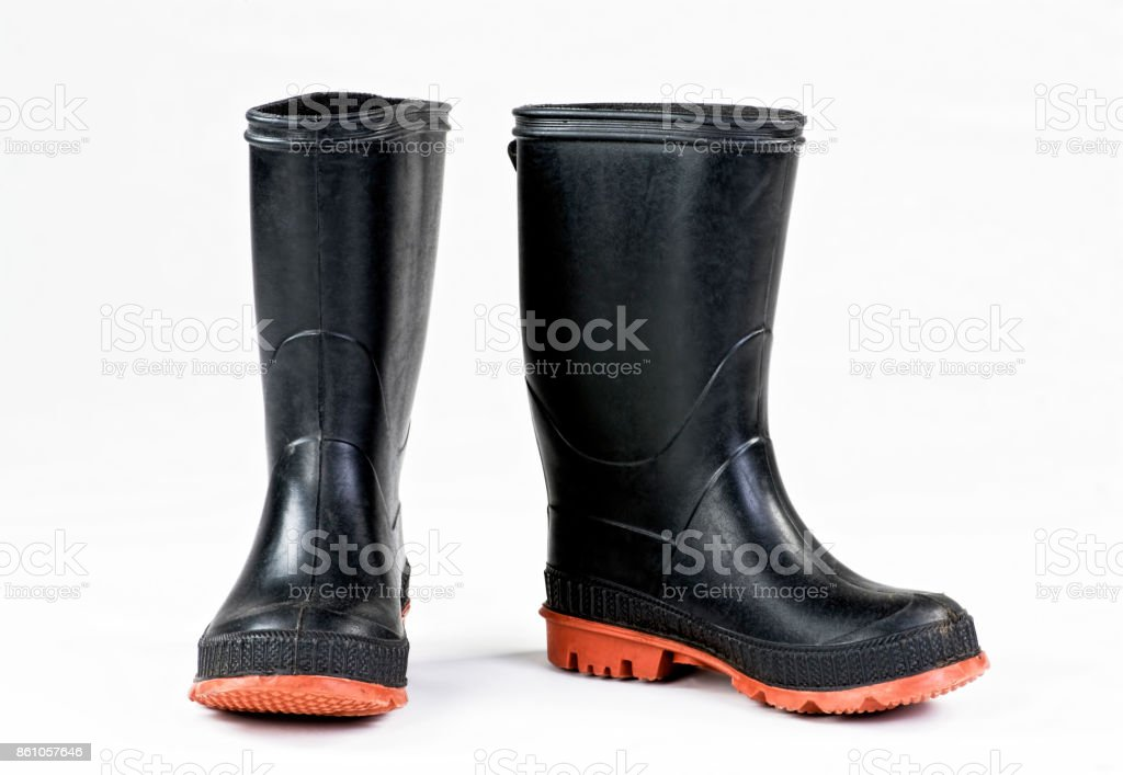 Black Rain boots. stock photo