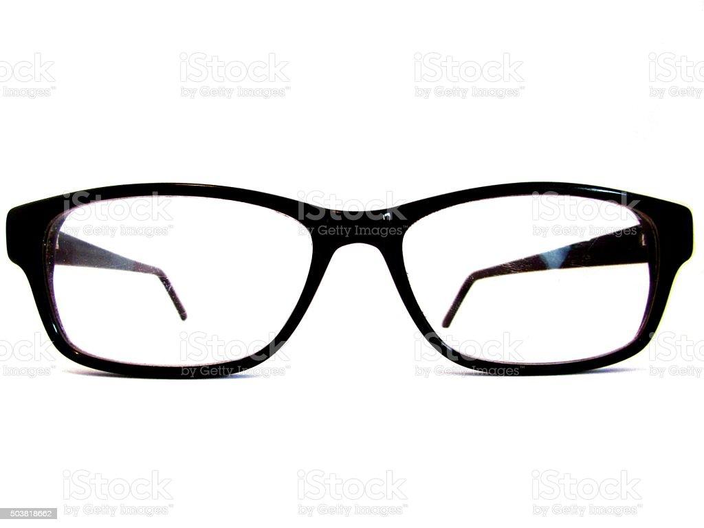 black reading glasses stock photo