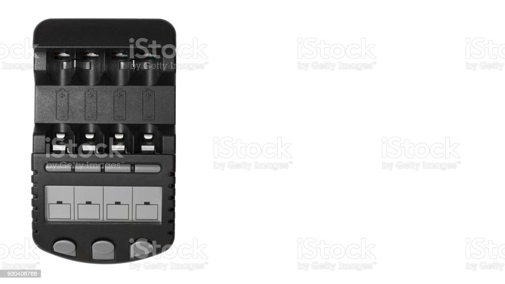 Black Rechargeable Battery Charger Isolated On White Background. copy space, template stock photo