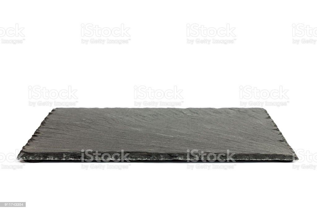 Black rectangular slate board isolated on white background stock photo
