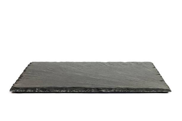 Tableau ardoise rectangulaire noir isolé sur fond blanc - Photo