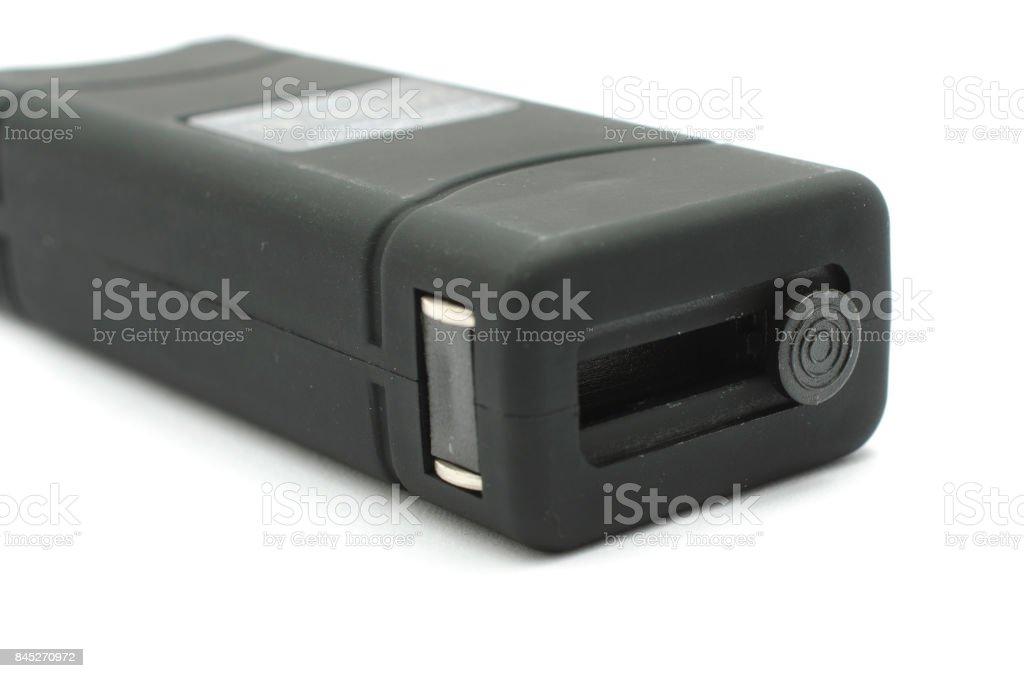 black rectangular taser aback isolated on white stock photo