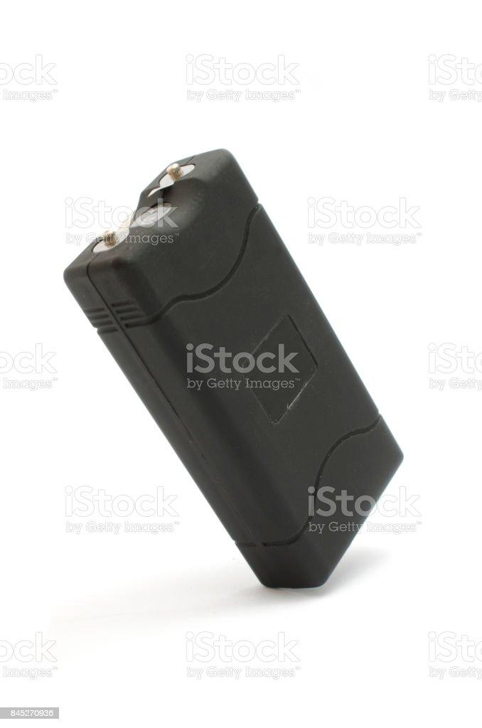black rectangular taser isolated on white stock photo