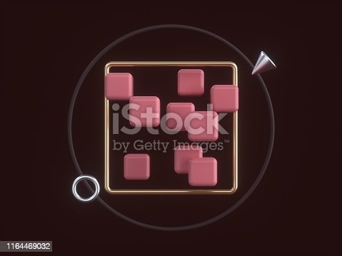istock black red/pink gold geometric shapes abstract levitation 3d rendring black background 1164469032
