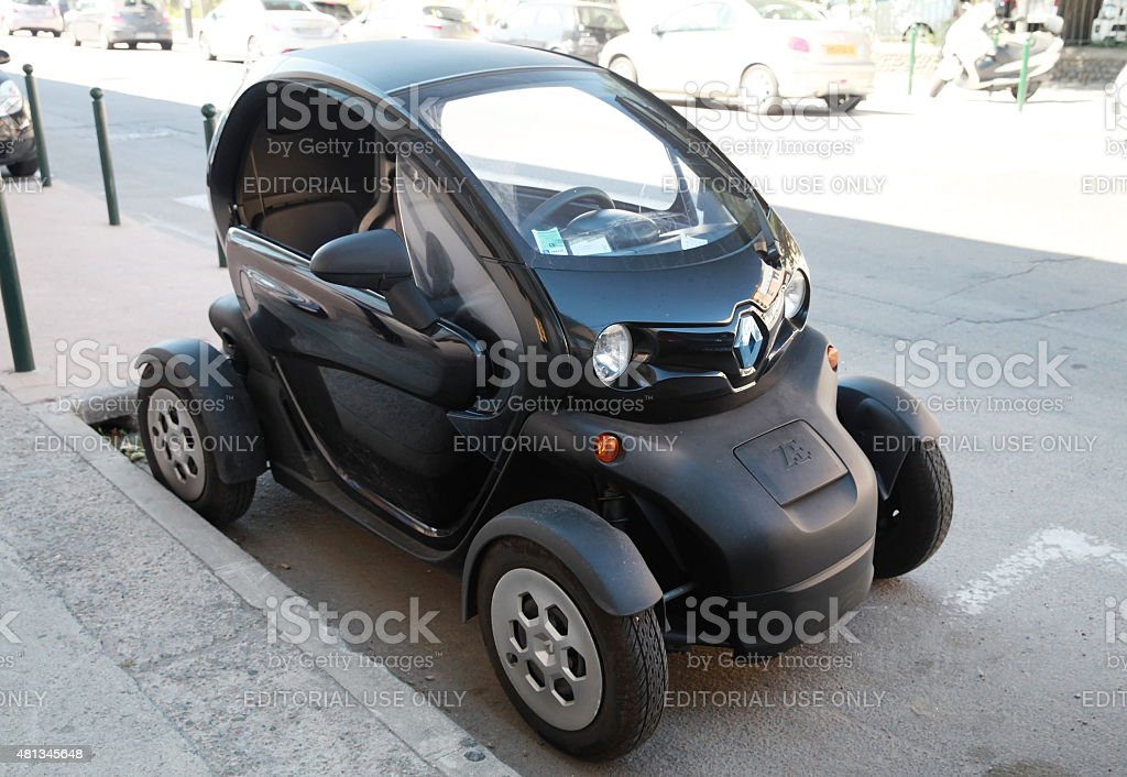 Black Renault Z.E. all-electric car parked stock photo