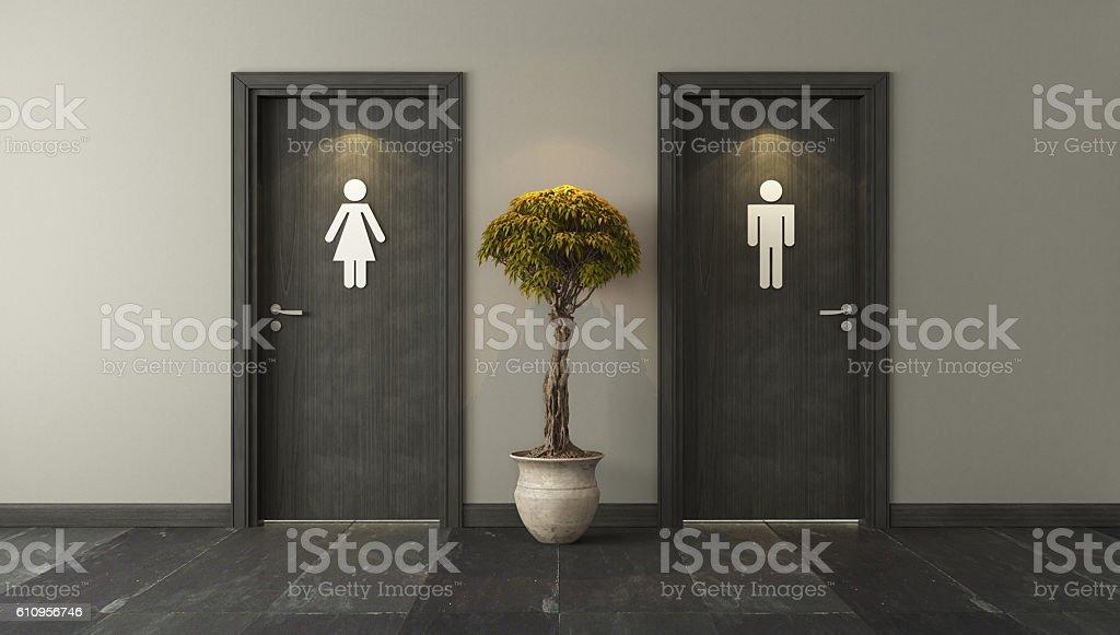 public bathroom doors. Black Restroom Doors For Male And Female Stock Photo Public Bathroom