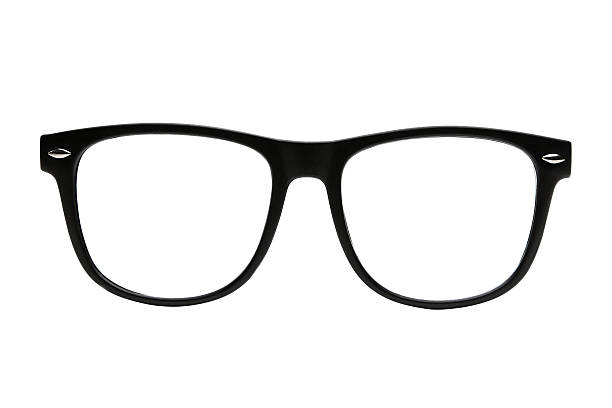 black retro nerd frames on white background with clipping path - spectacles stock photos and pictures