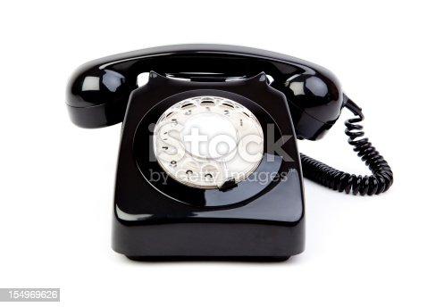 istock Black retro phone 154969626