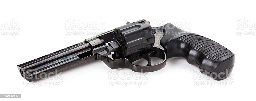 Negro con revólver sobre el fondo blanco - foto de stock