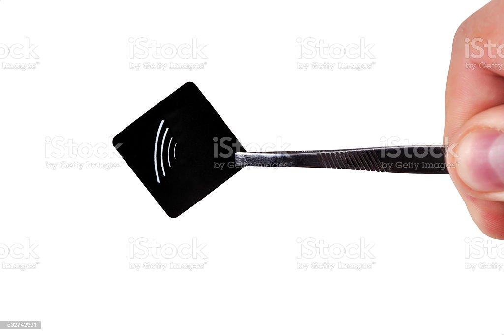 black rfid tag stock photo