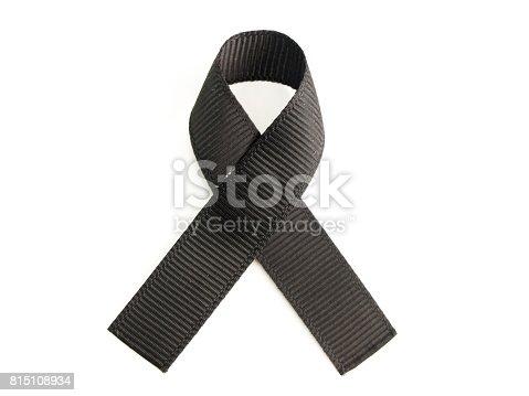 istock Black ribbon awareness on white background 815108934