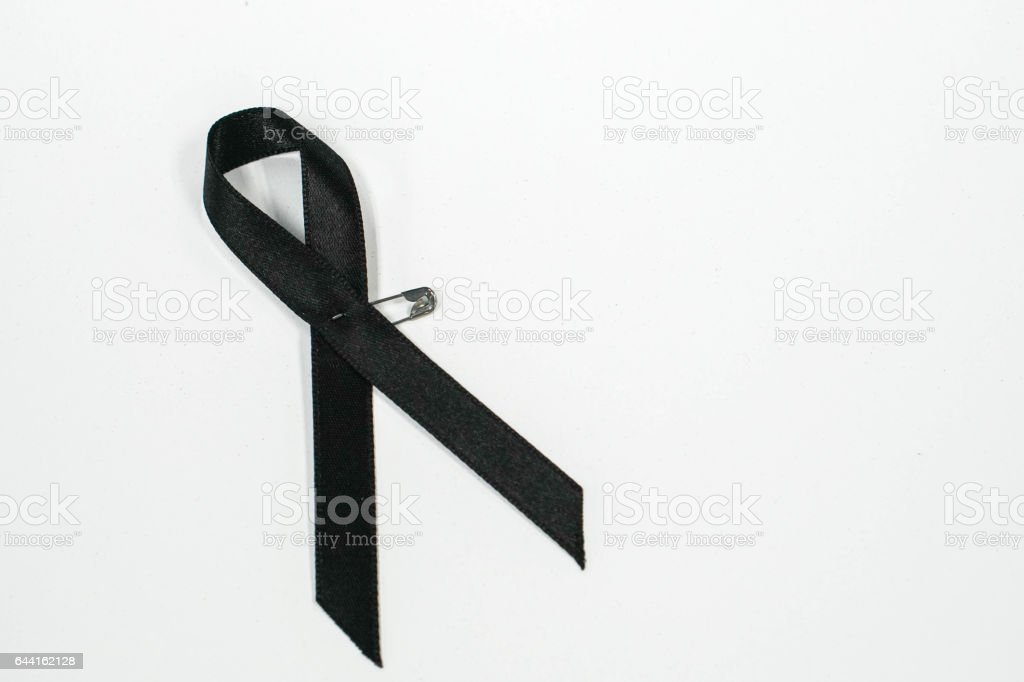 Black Ribbon For Mourning Of The King Rama Iv In Thailand Stock